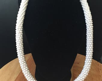 Crochet pearl rope necklace