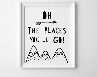Oh the places you'll go, nursery print, mini learners, boys room decor, nursery wall art quote, printable quote, digital print, nursery art