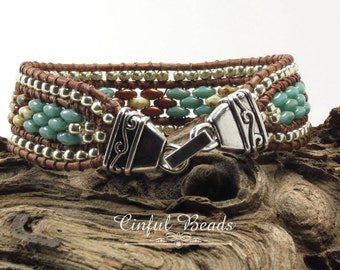 SINGLE WRAP LEATHER Bracelet-SuperDuos-Toho Seed Beads-Southwest-Boho-Chic-Hippie-Leather Cuff-Picasso-(SW2)