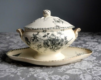 French antique grey transferware ironstone sauce boat with lid, birds and flowers gravy boat