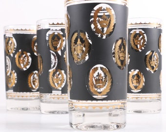 G. Reeves Crown and Wreath 22k Gold Highball Drinking Glasses Set of 4