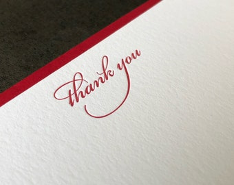 Thank You Script Letterpress Note Card Set of 10