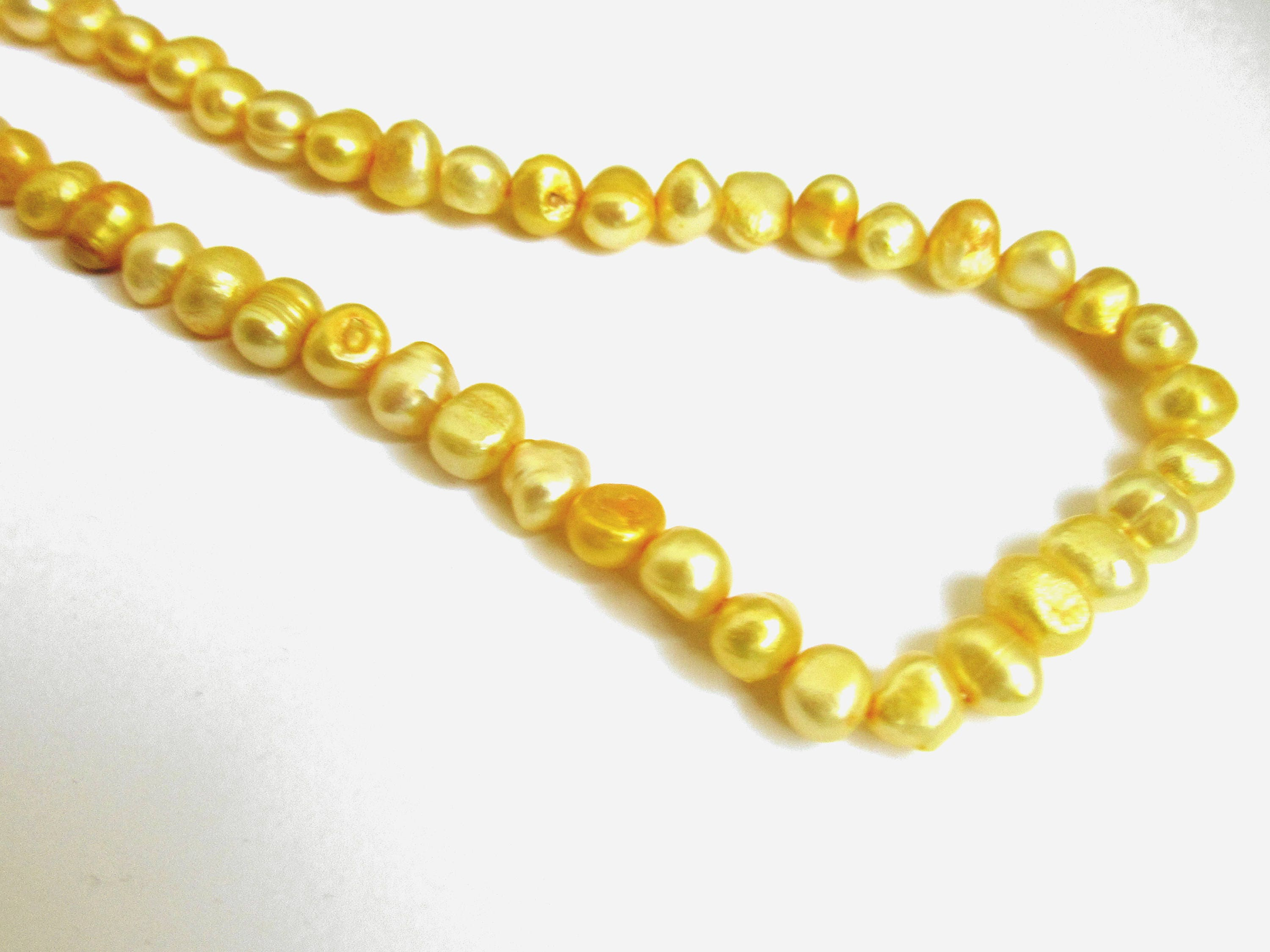 necklace freshwater pearls baroque yellow in pearl mastoloni gold