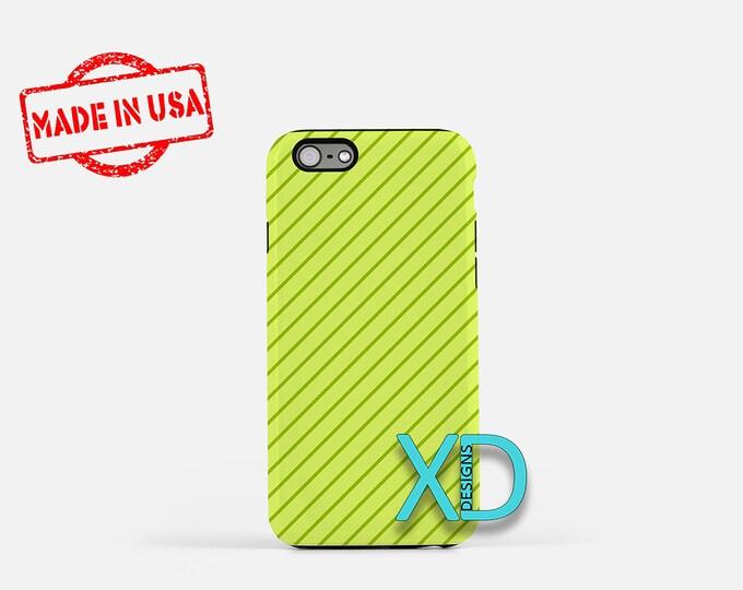 Lime Stripe Phone Case, Lime Stripe iPhone Case, Pinstripe iPhone 7 Case, Green, Pinstripe iPhone 8 Case, Lime Stripe Tough Case, Clear Case