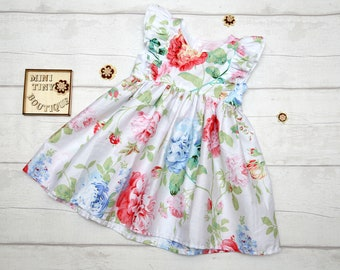 Double frill Floral Dress / Girls Floral Dress / Toddler Floral Dress / Floral Fall Dress / Flower girl Dress / Spring Dress