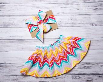 Rainbow Chevron Skirt and Head wrap Set- rainbow head wrap, baby skirt, little girl skirt, rainbow party