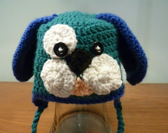 Puppy dog hat with ear flaps - toddler size - animal hat