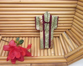 """3-inch PIN """"Golden Pines.""""  Cotton Origami Kimono Pin: Made by Hand. Gold, Sage Green, Burgundy. Wear it. Hang It. Frame It."""