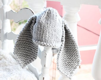 Grey bunny hat, easter bunny hat, baby bunny hat, newborn bunny hat, rabbit hat, newborn photo prop, easter, easter hat, kids bunny hat