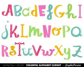Handdrawn Alphabet clipart colorful alphabet Digital alphabet letters clipart Digital letters Clip art alphabet Clip art letters clipart