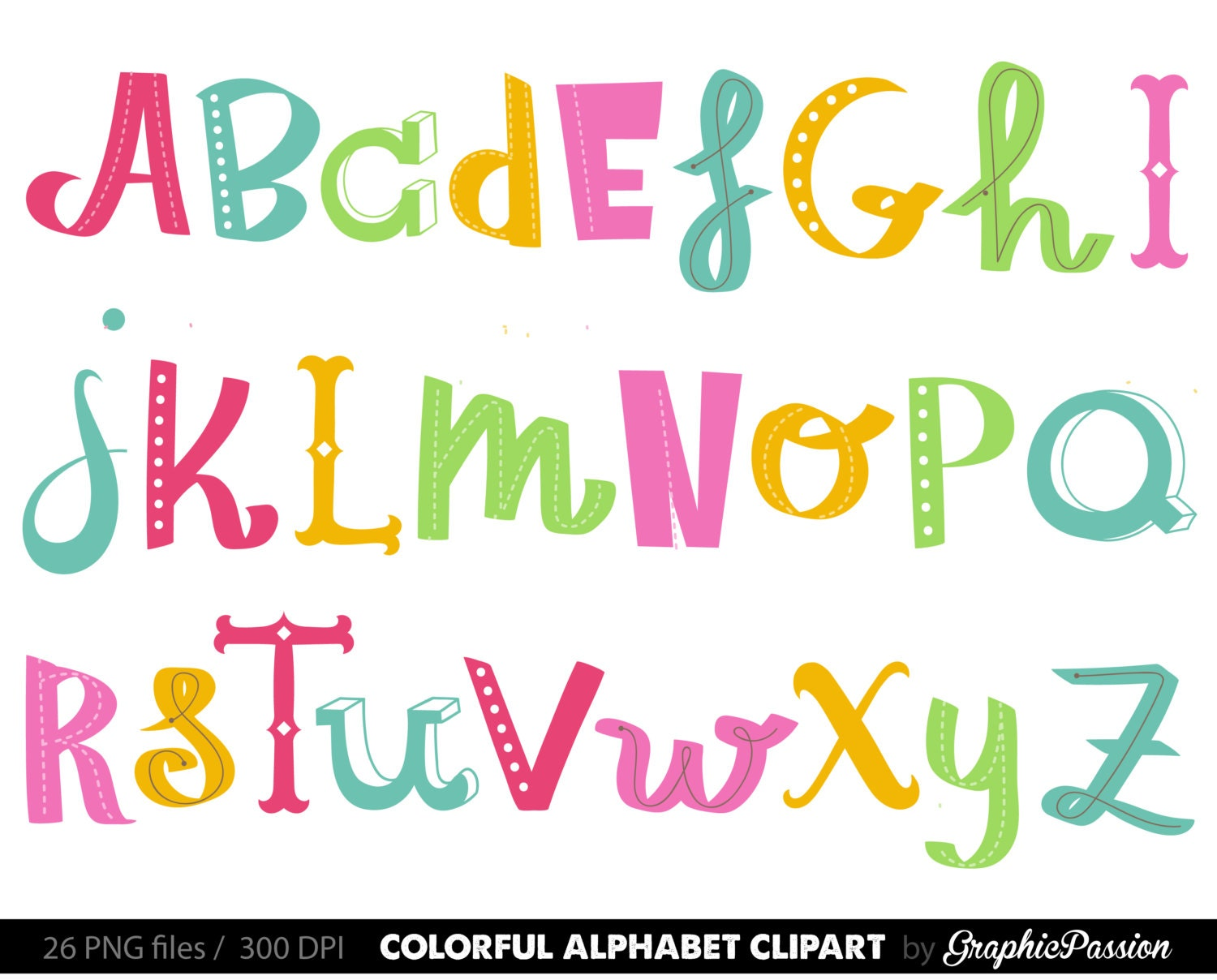 handdrawn alphabet clipart colorful alphabet digital alphabet rh etsy com clip art letters purple clip art letters for printing