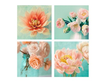 Four Flower Prints,  Flower Photography Set, Housewarming Gift,  Coral Turquoise Wall Decor,  Peony Art, Dahlia Print, Tulip , Ranunculus