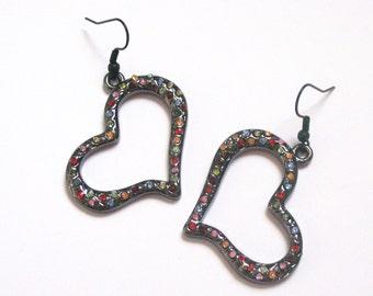 Open Heart Rainbow Confetti Earrings - Fun Rhinestone Party Jewelry Gunmetal Black