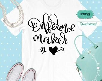 Difference maker svg, apple svg, back to school svg, school svg, teacher appreciation, teacher cut file, teacher gift, t-shirt svg  sg27