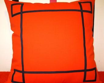 orange navy blue trim nautical pillow cover 26 X 26