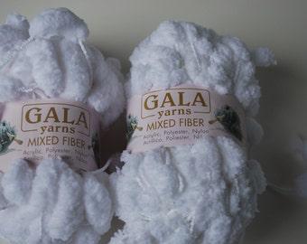 2 skeins Gala yarns mixed fiber white