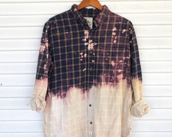 XLARGE - Flannel Shirt - Bleached - Vintage Washed Flannel - Oversized Flannel - Distressed Flannel - Plaid Shirt - Fall Shirt - #154 CM