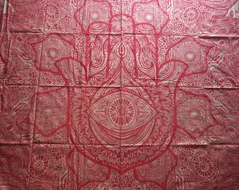 "Red and gold hamsa tapestry/ India print fabric/ boho bed cover/ unique hippie metallic India fabric/ full or queen bed cover/ 92 1/2"" x 80"""