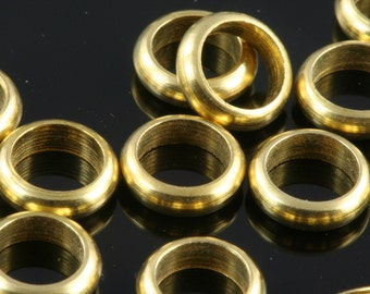 100 pcs 7 x 2 mm (hole 5 mm 4 gauge) raw brass ring, industrial brass charms, findings spacer bead bab5Ri66