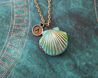 Clam Necklace Blue Patina Clam Jewelry Bronze Necklace Personalized Jewelry Patina Jewelry Patina Necklace Brass Clam Locket Beach Necklace