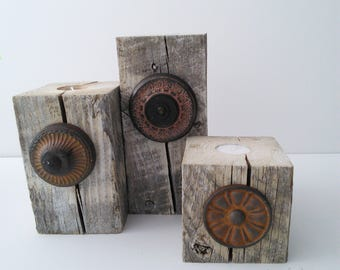 Reclaimed Wood Nesting Tealight Candleholder - Set of 3 with Upcycled Embellishments