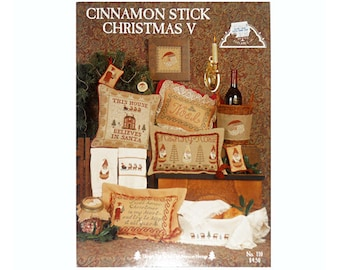 Cinnamon Stick Christmas Cross Stitch Pamphlet, Christmas Ornaments, Christmas Pillows, Vintage Cross Stitch, Craft Book by NewYorkTreasures