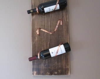 Reclaimed Wood and Copper Wine Rack