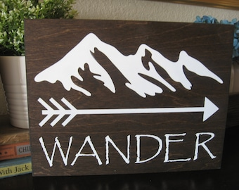 Rustic Wood Sign,Rustic bath decor,rustic bedroom,rustic wall decor,boys room decor,rustic decor boy,mountain sign,Wander sign,rustic wander