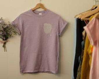 Lilac Block print Bear T-Shirt