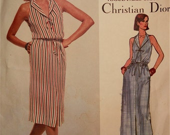 Dress by Christian Dior - 1970's - Vogue Paris Original Pattern 1648  Uncut Size 12  Bust  34""