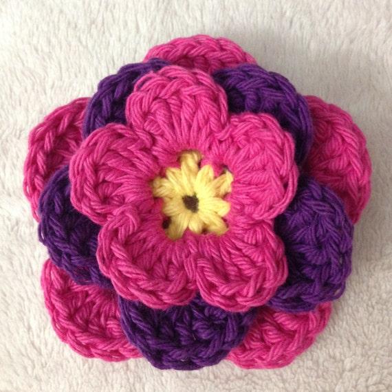 Crochet Flower Pattern Tutorial Three Layer Flower Appliqu