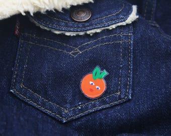 Orange pin, shrink plastic, hand drawn pin, fruit pin