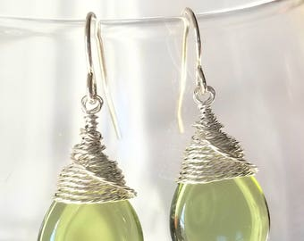 Olive Green Briolette Teardrop Earrings, Dangle Earrings, Green Jewelry