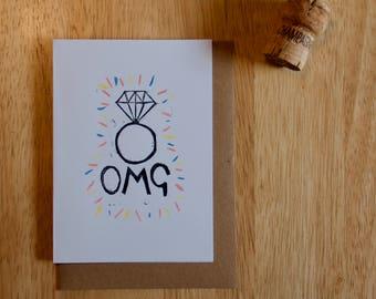 Carte de Enagement OMG - Original linogravure & aquarelle