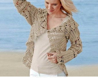 Crochet shrug PATTERN, written tutorial in ENGLISH for every row + charts, crochet jacket PATTERN Pdf, beach wedding crochet shrug pattern.