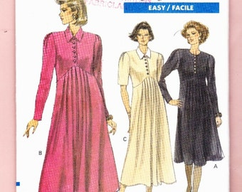 Vogue 7655 Maternity Dress Short/Long Sleeve Pleated Skirt Raised Waist Sizes 6-8-10 UNCUT
