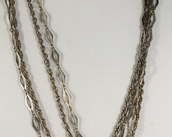 Vintage Extra Long Double Strand Silver/Light Gold Tone Necklace