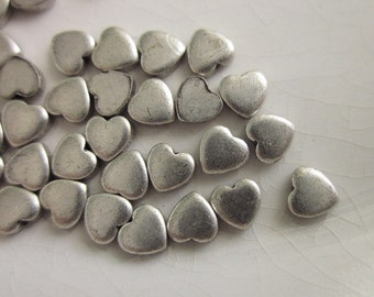 72 Vintage Silver-toned Metal Stampings, Tiny 4mm Hearts, Tiny Silver Hearts