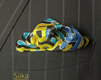 Silk pocket square blue yellow Hand painted silk OOAK wedding gifts for him mens handkerchief