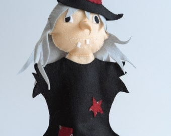 Evil witch - witch hand puppet, witch, puppetry, fairy -