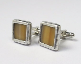 Toffee - Mens Stained Glass Cuff Link Set