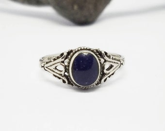 Sodalite Ring~Silver Natural Blue Sodalite Ring~Lapis Color Stone Ring~Lapis Dark Blue Sodalite Jewelry~Promise Ring~Girlfriend Gift for Her