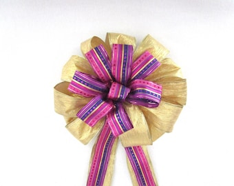 Christmas Bow / Gold & Purple Bow / Tree Topper Bow