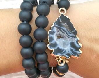 black druzy agate pendant bracelet stack