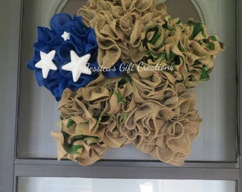 Ready to Ship Star Burlap Wreath/Front Door Wreath/4th of July Decor/Military/Red White and Blue/Camouflage/Everyday/Welcome/USA/America