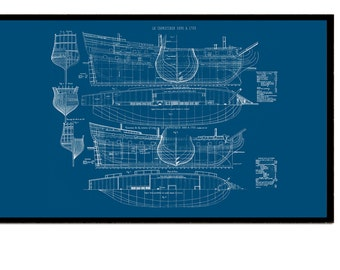 A3 Blue print of French Imperial Ship from Louis XIV dated 1690 - 1700 Pirate Ship