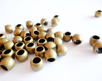Brass Metal Beads_R03563563565_Metal Beads_Brass Large Hole_of 7x5 mm_hole 4 mm_pack 20 pcs