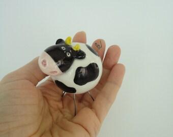 Ceramic small Cow- handmade- Ceramic  animal