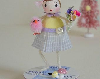 Spun Cotton Easter Girl / Easter Ornament / Retro Style
