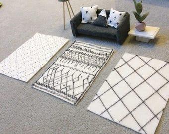 Modern doll house monochrome geometric afaw berber rugs